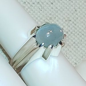 🆕 Aquamarine 925 Sterling Silver Ring Size 5.75